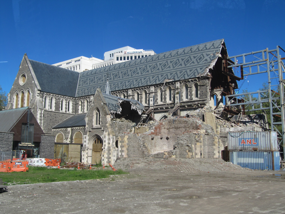 Damage to the Christchurch Cathedral