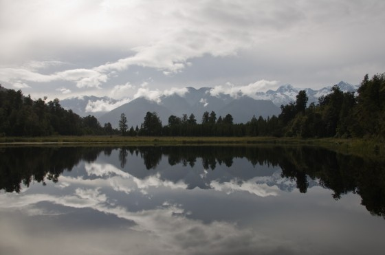 Lake Matheson with Mt. Cook and Mt. Tasman