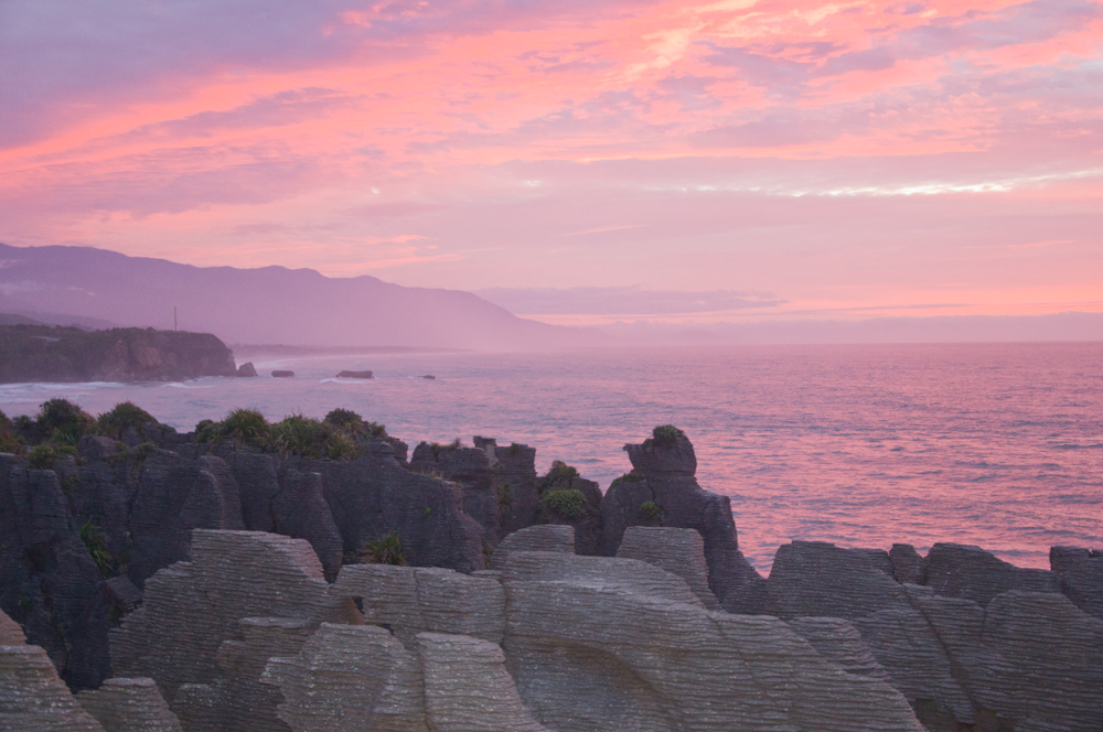 Punakaiki Sunset over the Pancake Rocks