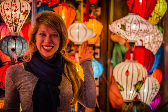 Surrounded by lanterns at the night market