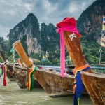 Longtail boats on Railay Beach, Krabi, Thailand